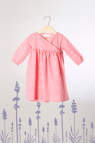 'Mountain Girl' - Kimono in Organic Cotton Pink with White Floral Print