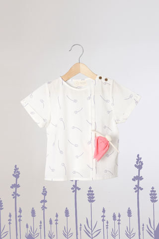 'Lavender for Luck' - Unisex Hidden Pocket Organic Cotton T-Shirt in White Lavender Floral