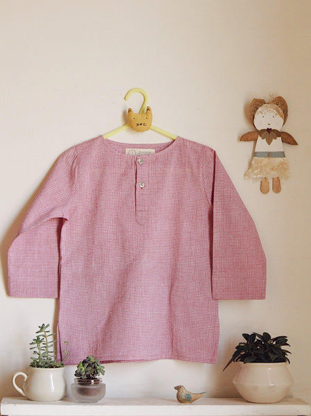 'I want to be like Grandpa' Kurta Pyjama set in Onion Pink Checks
