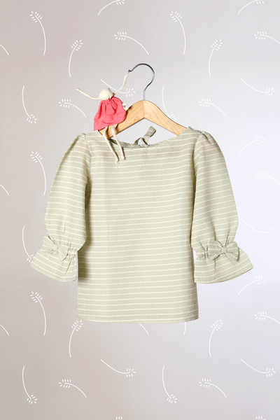 'Charms of Country Life' - Sage Green Striped Top