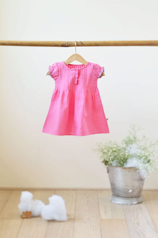 'Happy Camper' Pin tuck Dress in Pink Solid - Girls (0-6 months)