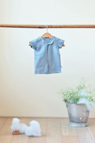 'Happy as a Clam' Big button Tee in Blue checks - Unisex (0-6 months)