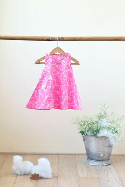 'Joys of Spring' - Half Circle Dress in Cherry Blossom for Girls (0-6 months)