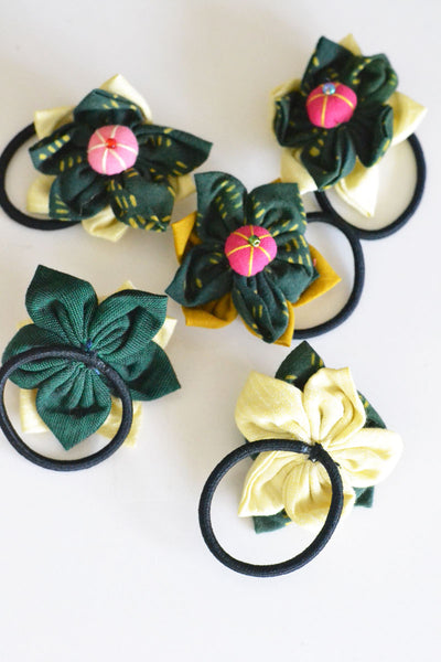 Ajrakh Flower Hair Tie