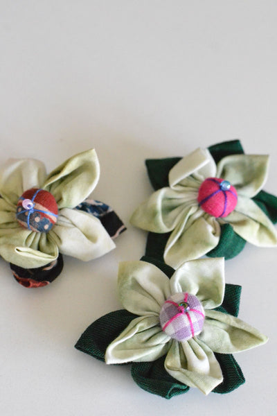 Green Assorted Flower Hair Clip