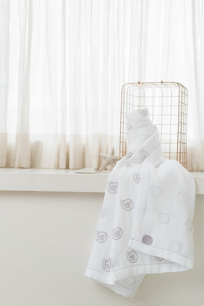 'Pearly Shell' Organic Cotton Blanket/ Dohar in Grey