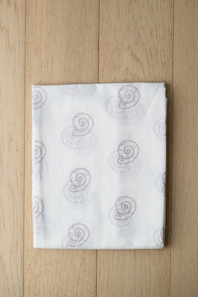 'Pearly Shell' Organic Cotton Swaddle in Grey