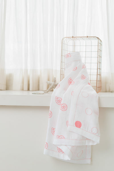 'Pearly Shell' Organic Cotton Blanket/ Dohar in Pink