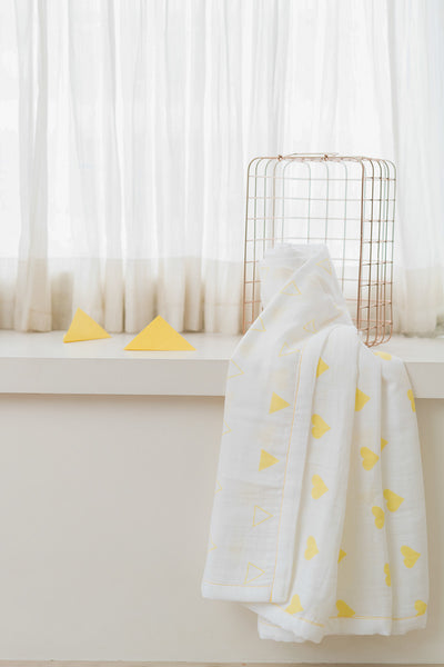 'Grace' Organic Cotton Blanket/ Dohar in Yellow