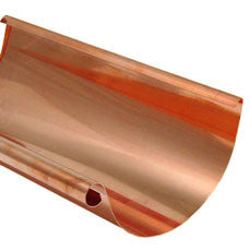 "COPPER HALF ROUND GUTTER- 4"", 5"", 6"", & 7.6"" (10', 18', & 20' LENGTHS) - Wholesale Gutter Systems  - 1"