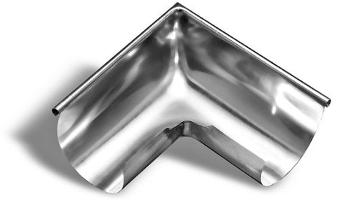 90º DEGREE HALF ROUND OUTSIDE CORNER | GUTTER MITER-ZINC - Wholesale Gutter Systems  - 1