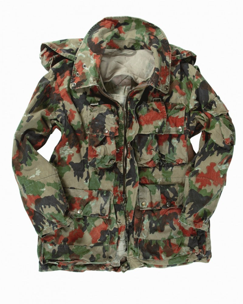 Swiss alpenflage army surplus camouflage m70 heavy cotton jacket coat