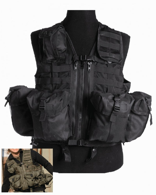 8 pocket assault vest, available in either BLACK or OLIVE