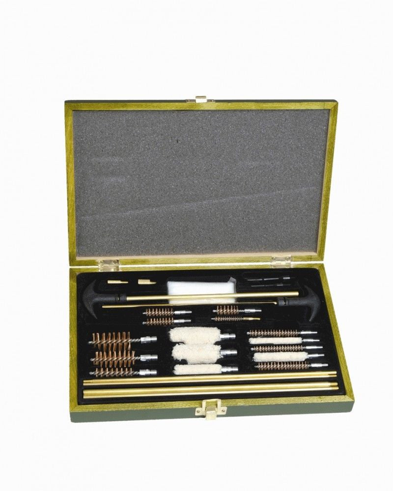 From Miltec, Rifle pistol shotgun weapon cleaning kit in a wooden box