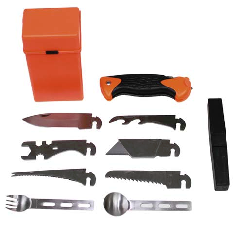 27 piece 'combat' survival knife, accessories and case