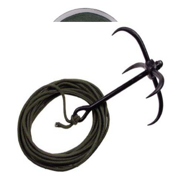 All metal grappling hook / anchor complete with 10 meteres of line