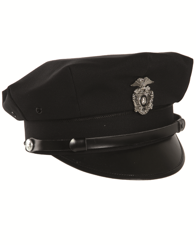 American style police offices peaked cap new york vintage blue black