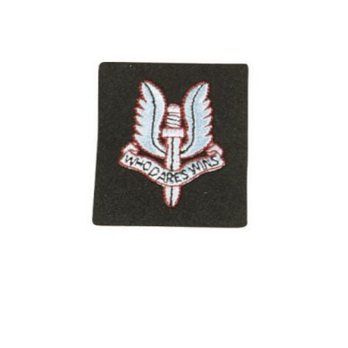 Cloth sew on badge featuring S.A.S crest cotton