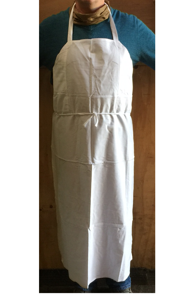 LARGE and long white cotton apron kitchen workshop