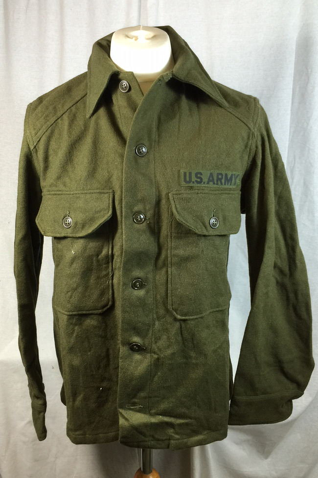 Vintage U.S  american army surplus Korean war era wool field shirt MEDIUM SIZE