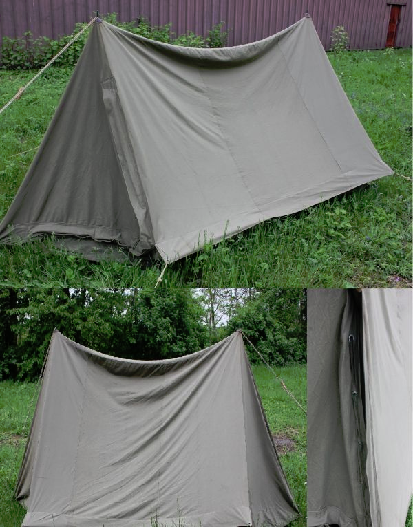 VINTAGE bulgarain army saurplus 2 man canvas tent,poles, bag etc