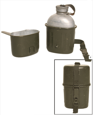 DUP01-German army surplus drinking flask canteen and cup, NEW/UNISSUED, green