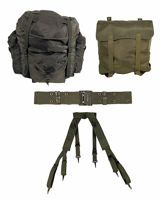 Austrian army surplus 4 piece backpack / harness webbing set