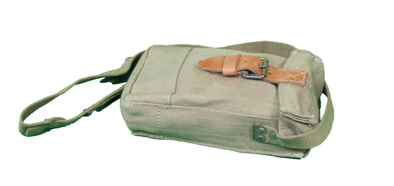 Large khaki italian cartridge bag