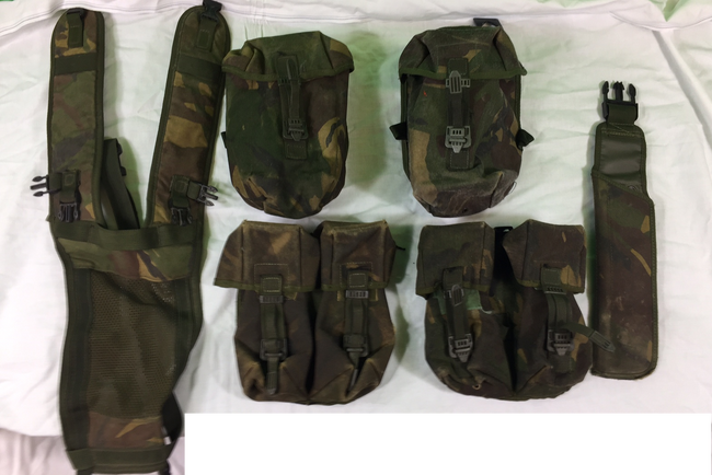 Bundle of 6 x British army surplus D.P.M camouflage pouches and items