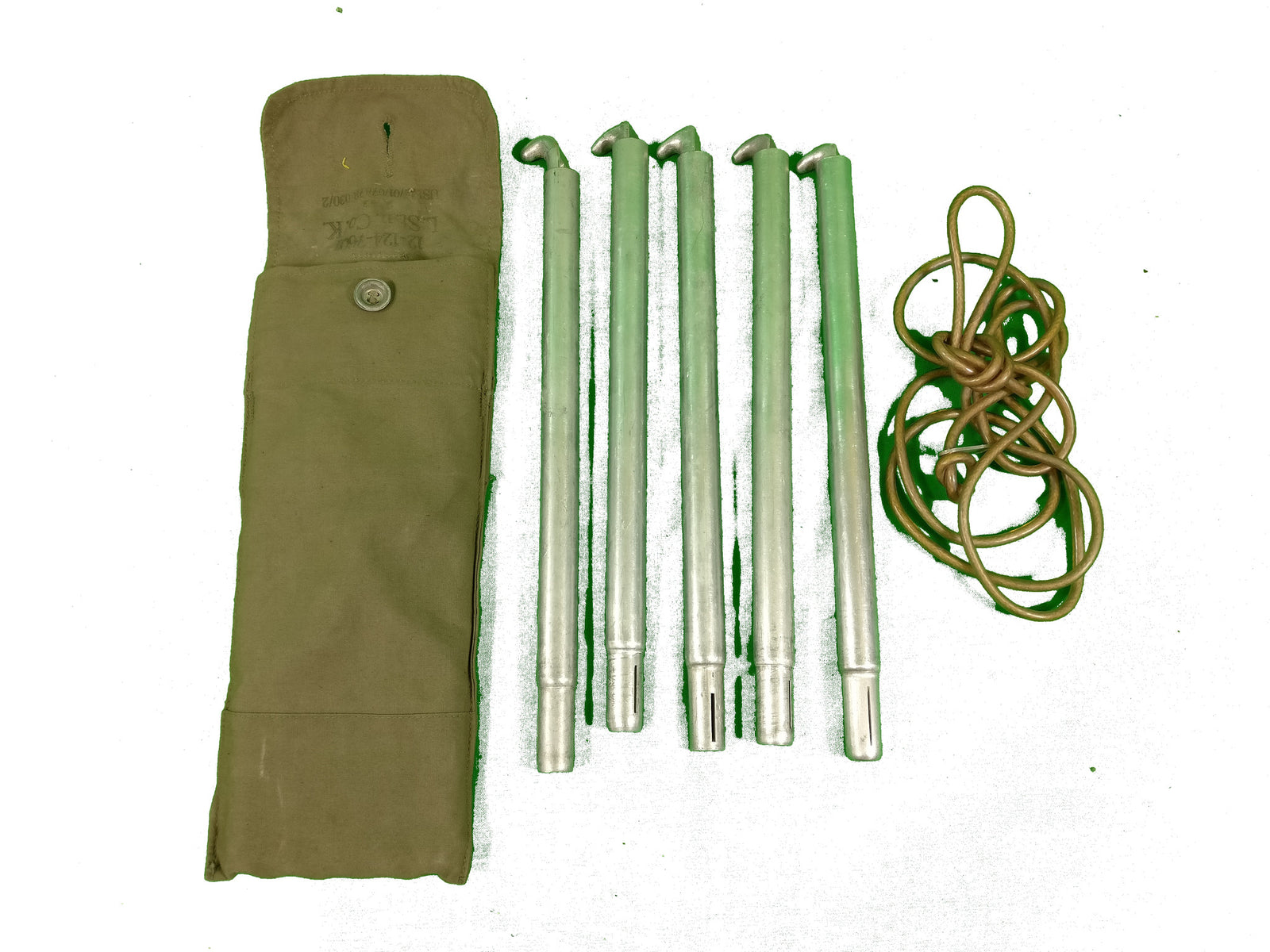 2 sets of German army surplus tent poles, pegs and bag OLIVE BAG