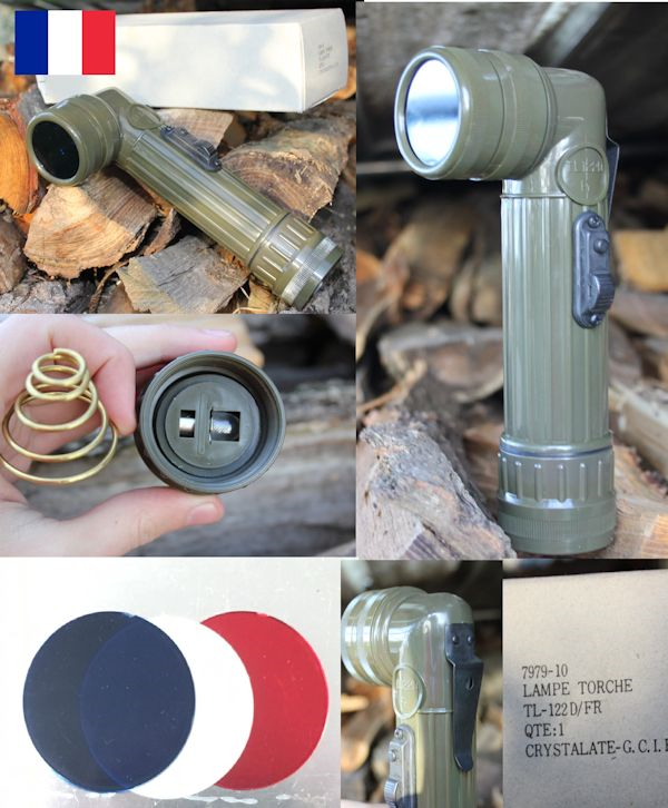 French military surplus olive green right angle torch coloured lens NEW