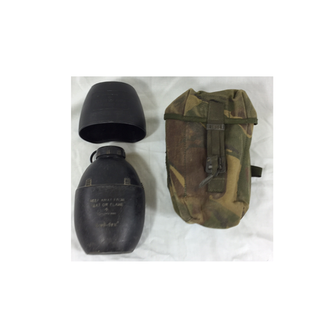 Army surplus aluminium water bottle, cup with handles, cover  / holder