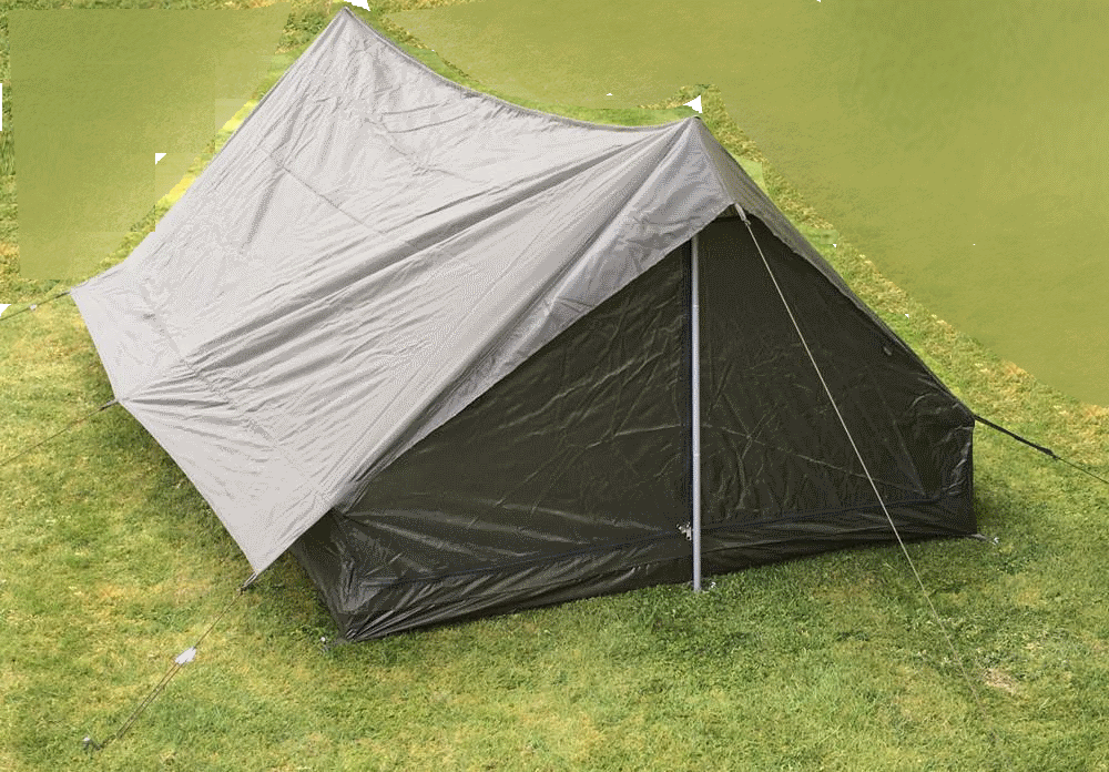 French army surplus lightweight nylon 2 man tent NEW with poles/pegs