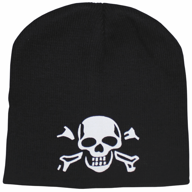 Black cold weather skull and crossbones beanie hat cap
