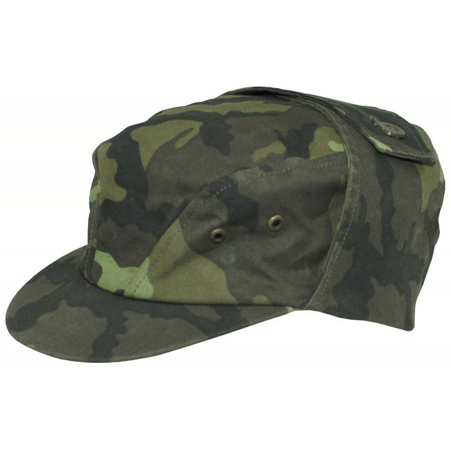 Czech army surplus M95 field cap with neck cover woodland camo