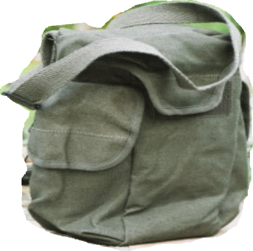 French army military  surplus  canvas gas mask bag and shoulder strap