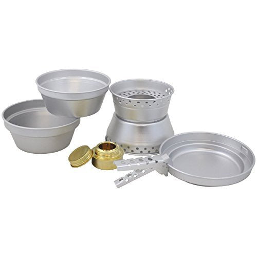 Aluminium camping cook set complete with burner pans pots