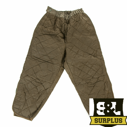 Dutch army surplus quilted cold weather trouser liners