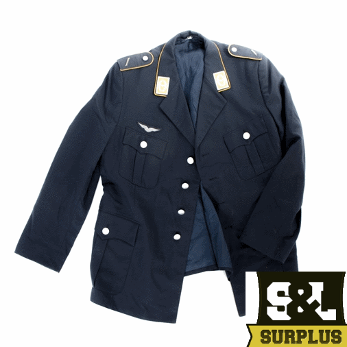 Army surplus uniform jacket of the German airforce luftwaffe in BLUE