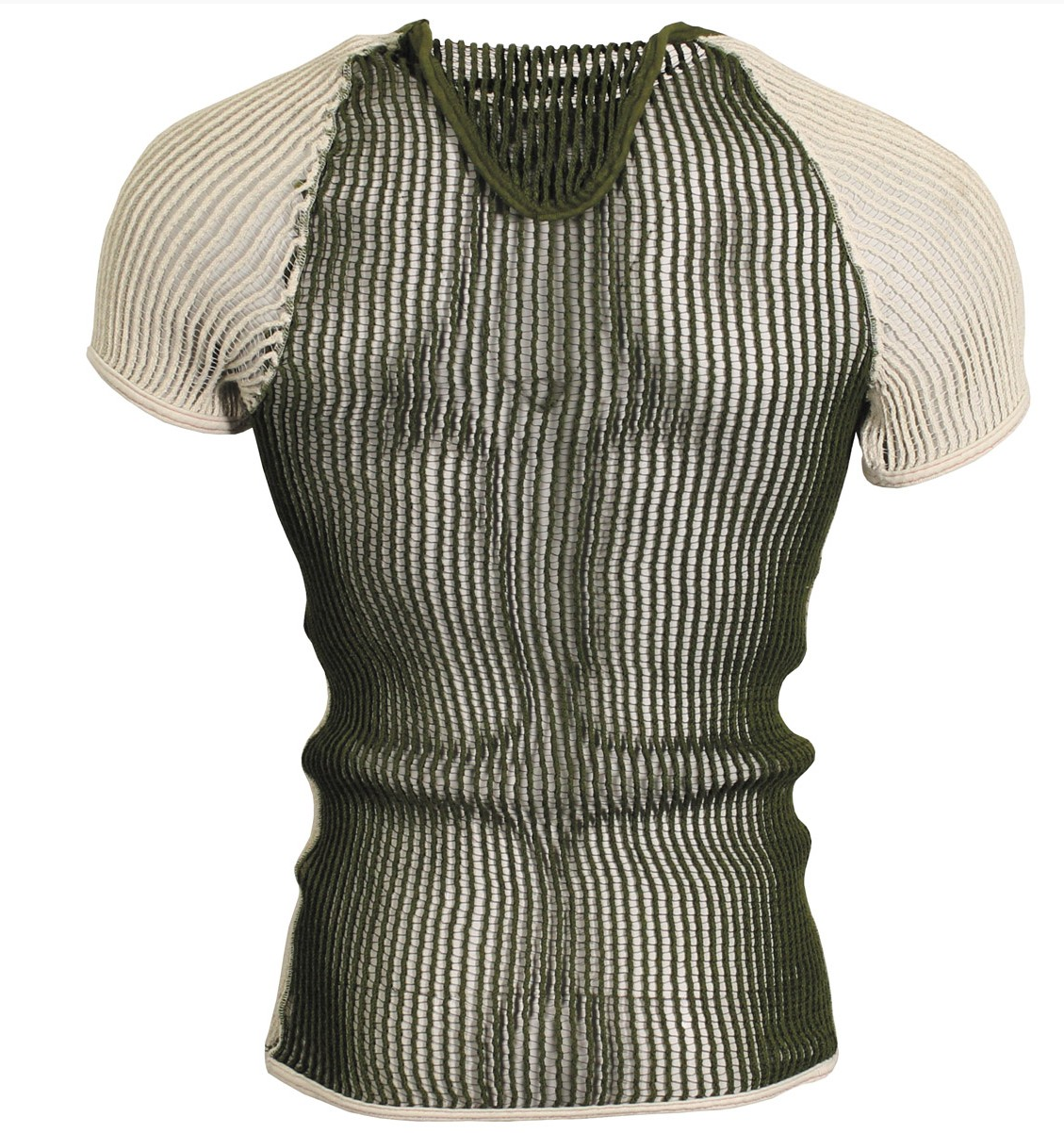 Danish army surplus knitted mesh string vest , green/white