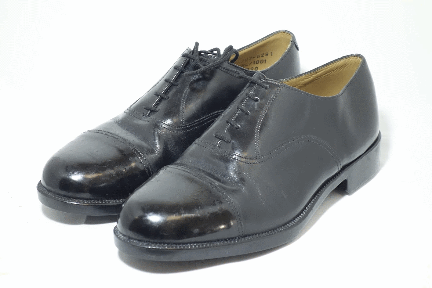 British army surplus black leather parade shoes with toe cap  RAF cadet