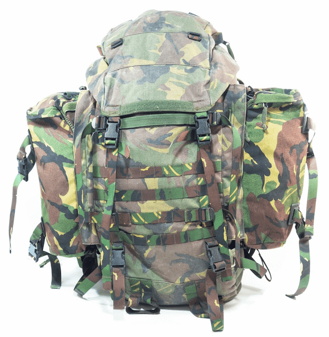Dutch army surplus G1 DPM camouflage bergen and side pouches
