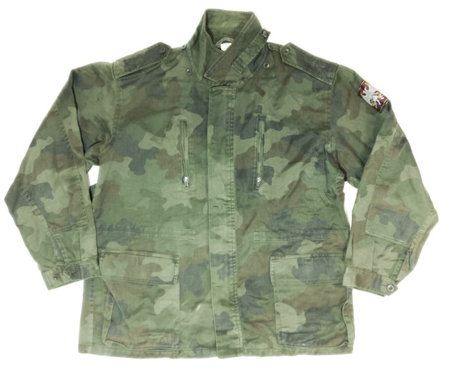 Army surplus   serbian  cotton field jacket camouflage pattern Zip pockets