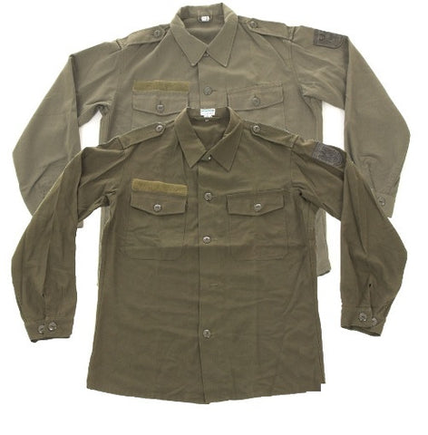 British army surplus vintage olive green short sleev shirt, g1 and g2