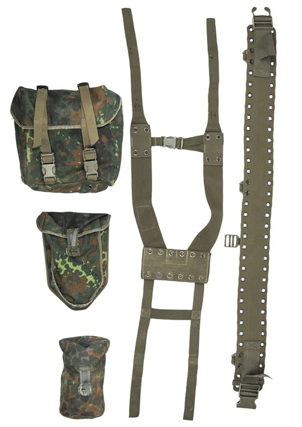 German army issue webbing set in flecktarn camouflage