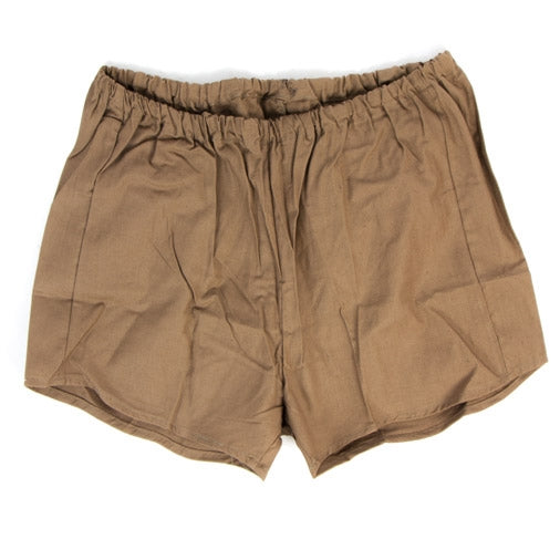 Czech army surplus brown cotton sports shorts