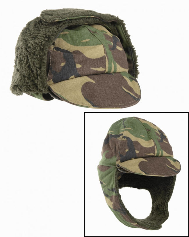 British Army army surplus cold weather winter cap, fold down fur ear covers