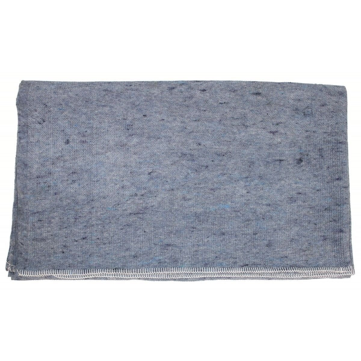 Danish army surplus blanket with stitched edges, grey blue colour
