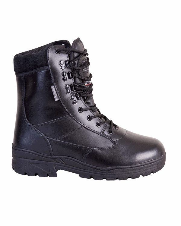 Black leather army military combat boots cadet tactical security