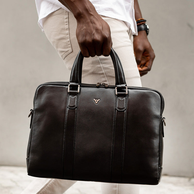 "15"" Slimline Cass Briefcase, Black - Leather Laptop Bag 